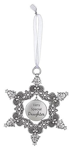 Very Special Daughter -ChristmasTree Snowflake Sentiment Photo Ornament by Ganz