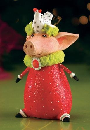 Patience Brewster Christmas Mini Phyllis Pig Ornament Holiday Tree Decoration