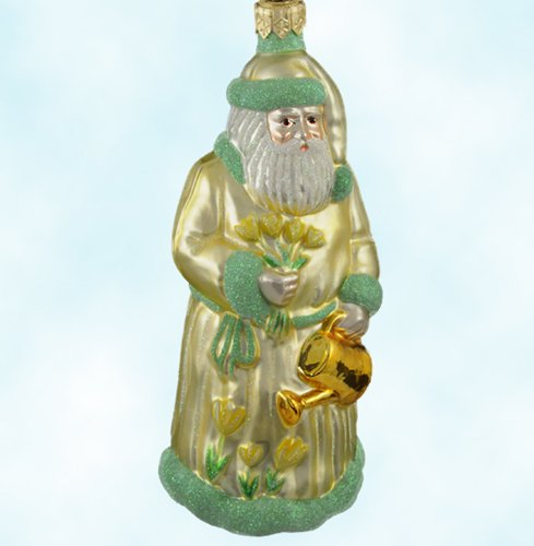Patricia Breen Christmas Ornaments, Yellow Tuplip Santa, 1997, 9740, yellow robe, holds watering can, tulip flowers, Easter