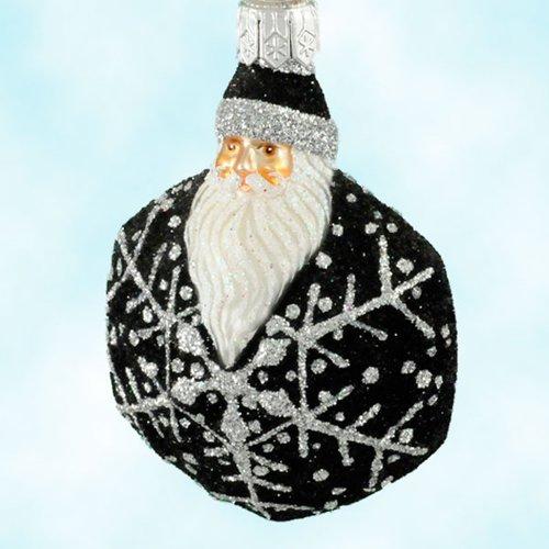 Patricia Breen Christmas Ornaments, Snowflake Noel Santa, Black and Silver, 2002, 2257, Hexagonal snowflake