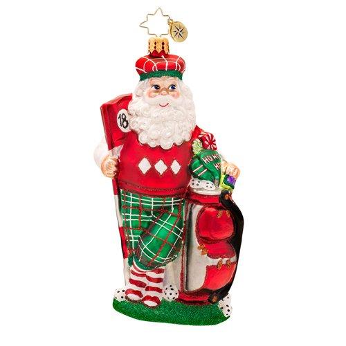 Christopher Radko Glass Golfin' on the Green Santa Claus Christmas Ornament #1017375