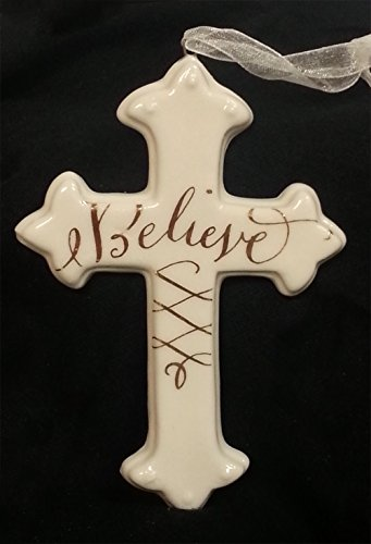 """Believe"" Porcelain Cross Christmas Ornament"