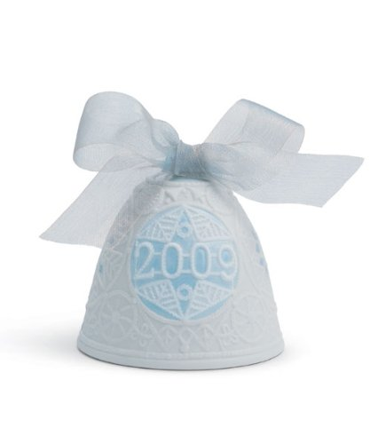 Lladro 2009 Christmas Bell, White with Blue Accent