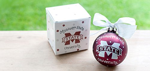 Coton Colors Maroon, Mississippi State Logo Ornament (MSU). Any Fan Will Love This MSU Logo Ornament. You'll Be Proud to Showcase Your School Pride During the Holiday Season with This Spirited Ornament Featuring the Msu Logo and School Colors! Each Ornament Is Perfectly Packaged with a Matching Gift Box and Coordinating Tied Ribbon for Easy Gift Giving and Safe Storage.