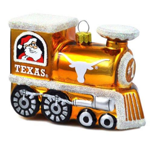 Texas Longhorns Official NCAA 3 inch x 2.5 inch Blown Glass Train Christmas Ornament