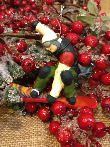 Snowboarder Dude Resin 4.25″ Christmas Ornament for Xmas