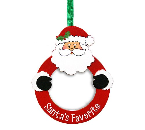 Santa's Favorite Round Wooden Ornament with Ribbon – Home Decor Holiday Gift