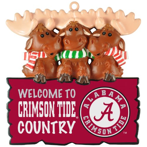 "Alabama Crimson Tide NCAA ""Welcome to Crimson Tide Country"" Hanging Moose Ornament (Appx 3.5″)"