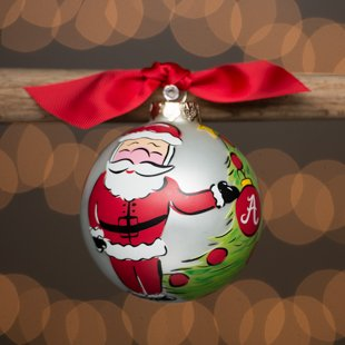 Glory Haus Alabama Santa Glass Ornament. (University of Alabama) Comes Packaged in a Gift Box for Perfect Presentation.