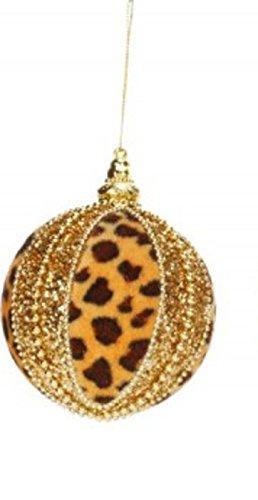 3.25″ Diva Safari Tan Leopard Print Gold Glitter & Bead Embellished Christmas Ball Ornament (80mm)