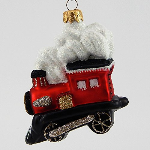 Mattarusky Peppermint Express Glittered Glass Ornament
