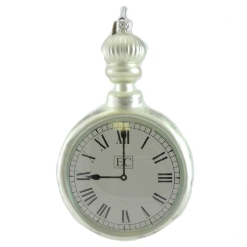Holiday Ornament SILVER POCKET WATCH 50311 Timepiece Silver Retirment New