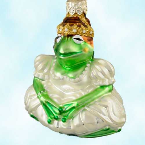 Patricia Breen Christmas Ornaments, Josephine Frog Queen, White dress, 2000, 2020, Crown, pearl jewlery