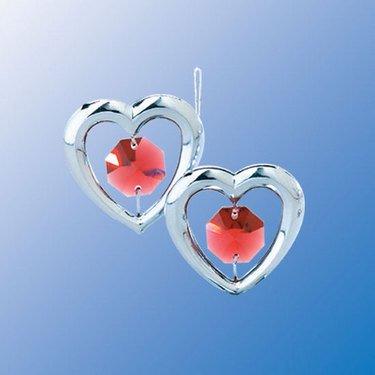 Chrome Mini Twin Hearts Ornament – Red Swarovski Crystal