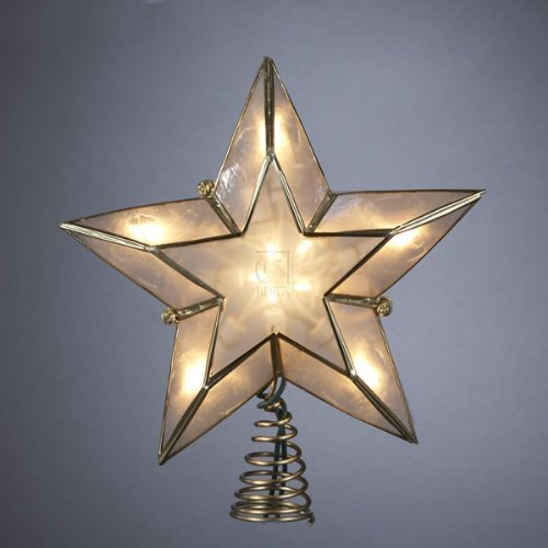 Kurt Adler 10-Light 5-Point Capiz Star Christmas Treetop, Ivory and Gold