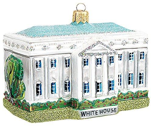 White House Building Washington D.C. Polish Mouth Blown Glass Christmas Ornament