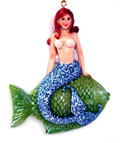 Mermaid Sitting on a Tropical Fish Christmas Ornament
