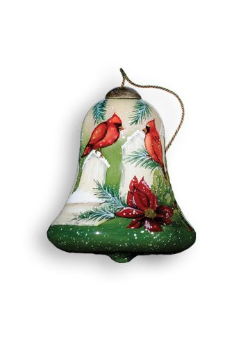 "Ne'Qwa Ornament ""Cardinals"", 3-Inches Tall, Bell Design, Designed by noted artist Susan Winget"