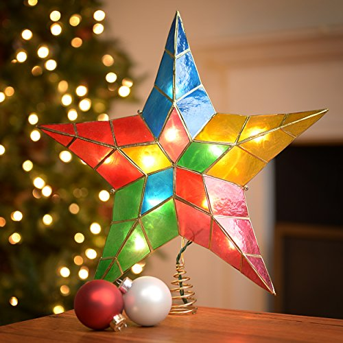 This Kurt Adler 10-Light 5-Point Capiz Star Christmas Treetop, 14-Inch, Multi-Colored