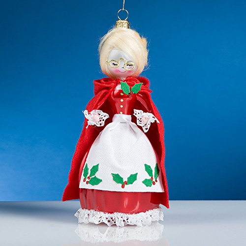 De Carlini Mrs Santa Italian Mouthblown Glass Christmas Ornament