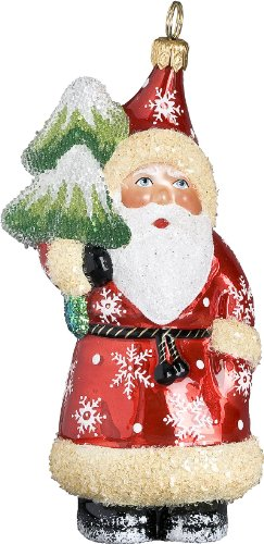 Ino Schaller Blown Glass Polish Munchen Evergreen Santa Ornament by Joy to the World Collectibles