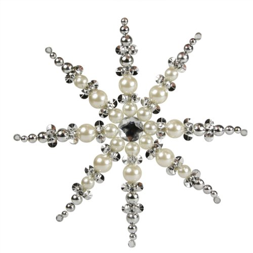 7″ Elegant Pearl Jeweled and Beaded Snowflake Christmas Ornament