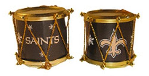New Orleans Saints NFL Football Set of 2 Plastic Drum Christmas Ornaments