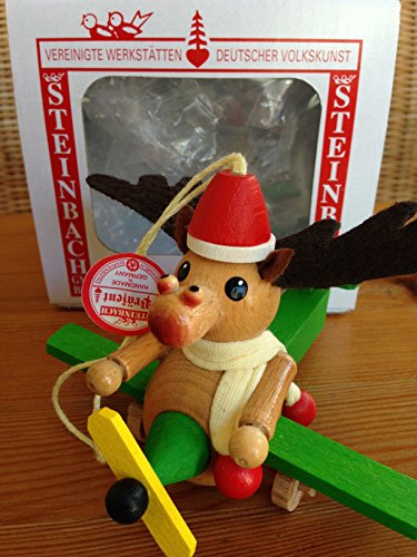 Steinbach Flying Reindeer Airplane Wooden Ornament