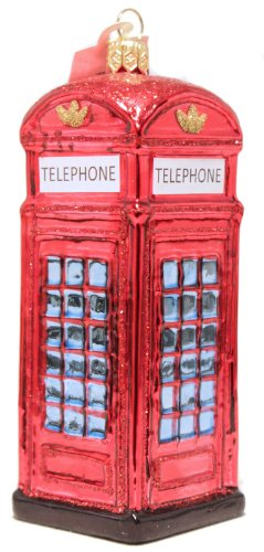 London Telephone Booth Polish Mouth Blown Glass Christmas Ornament