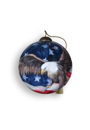 Ne'Qwa Art God Bless America – New for 2012 – Glass Ornament Hand-Painted Reverse Painting Distinctive 784-NEQ