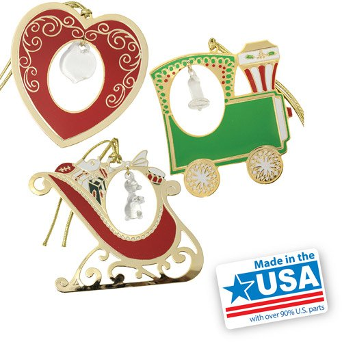Gloria Duchin Crystal-Accented Christmas Ornaments, 3-Piece Set