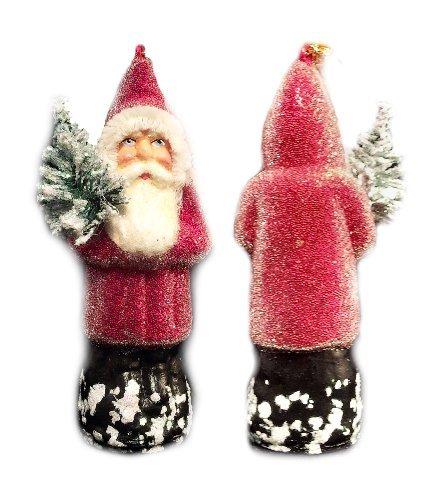 Red Beaded Ino Schaller German Paper Mache Santa Ornament