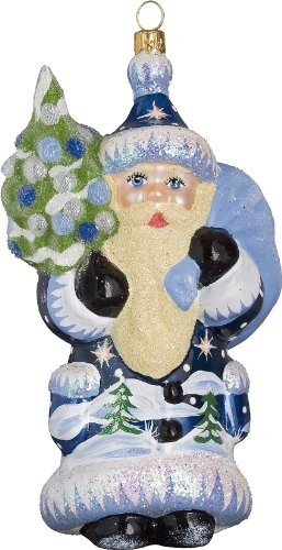 Ino Schaller Blue Coburg Evergreen Santa Blown Glass Christmas Ornament by Joy To The World Collectibles