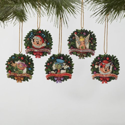 Jim Shore Wreath Disney Disc Ornament Set