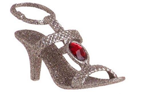4″ Silver Glitter Strappy Sandal High Heel Christmas Ornament