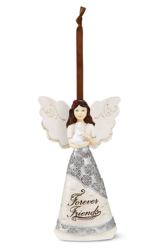 Elements Forever Friends Angel Ornament by Pavilion, 4-1/2-Inch, Holding Bunny, Inscription Forever Friends