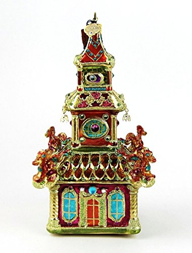 Jay Strongwater Chinioserie Triple Pagoda Ornament Swarovski Brand New Box