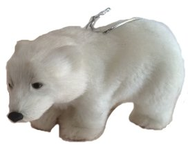 Furry Polar Bear Ornament