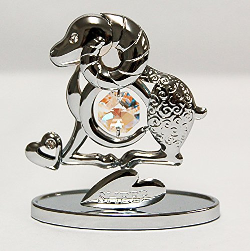 Chrome Plated Sheep Free Standing with Swarovski Crystal