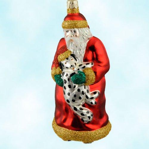 Patricia Breen Christmas Ornaments, Firehouse Santa, Red, 1999, 9911, Red robe, Dalmatian dog