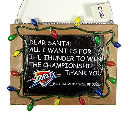 Oklahoma City Thunder Official NBA 3 inch x 4 inch Chalkboard Sign Christmas Ornament