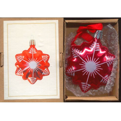 Thomas Pacconi Classic Vintage Style Tin Christmas Holiday Ornament Snowflake Red