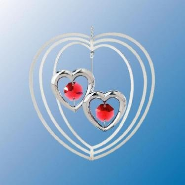 Ruby Red Swarovski Crystal & Silver Two Hearts Ornament or Suncatcher with Stand