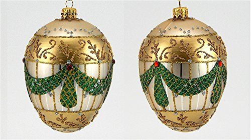Faberge Inspired Garland Egg Polish Mouth Blown Glass Christmas Ornament