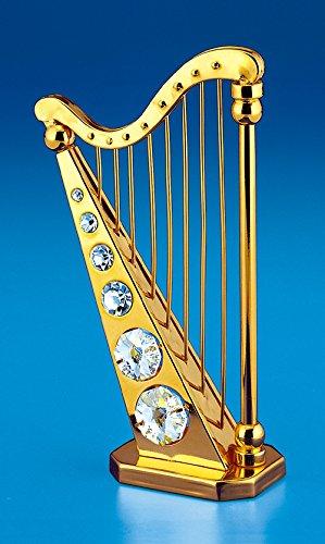 Harp 24k Gold Plated Swarovski Crystal Ornament Figure