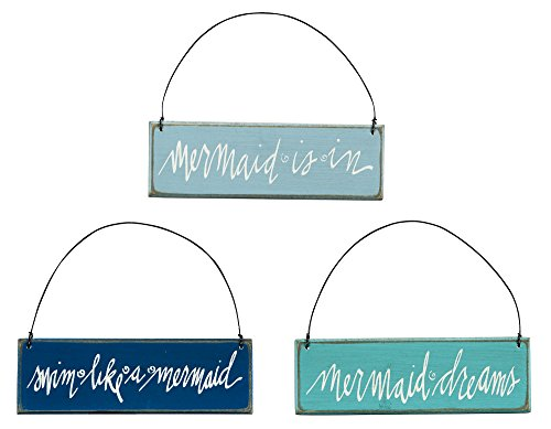 Beach House and Seashore – Mermaid Themed Wooden Sign Ornaments – Set of 3