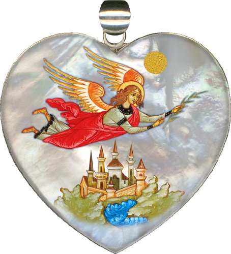"Flying Angel Heart Pendant 2.1″h""museum Jewelry"" Collection Handpainted on Mother-of-pearl in Sterling Silver"