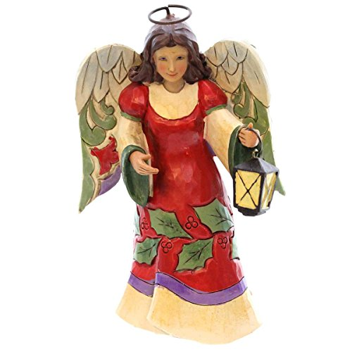 Jim Shore for Enesco Heartwood Creek Pint Sized Angel with Lantern Figurine, 5.25-Inch