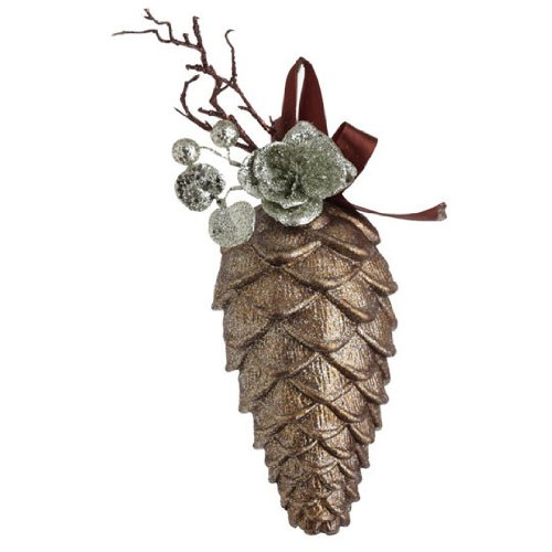 RAZ Imports – Brown Pinecone with Glittered Silver Accents Ornament 8″