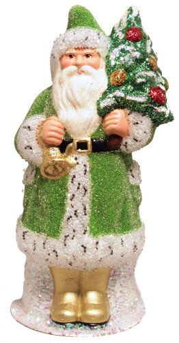 Ino Schaller Green Beaded Santa with Tree German Paper Mache Candy Container